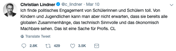 Christian Lindner Tweet Klimaschutz Fridays for Future