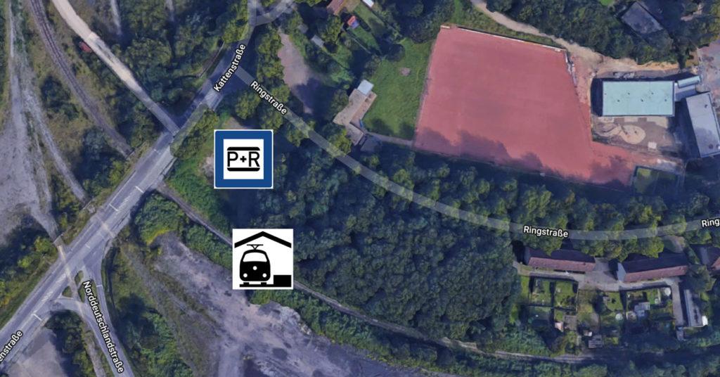 Haltestelle Kattenstraße in Kamp-Lintfort auf dem Satellitenbild