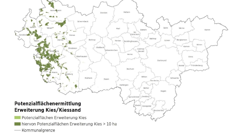 Die Karte zeigt mögliche neue Flächen für die Erweiterung des Kies- und Sandabbaus am Niederrhein.