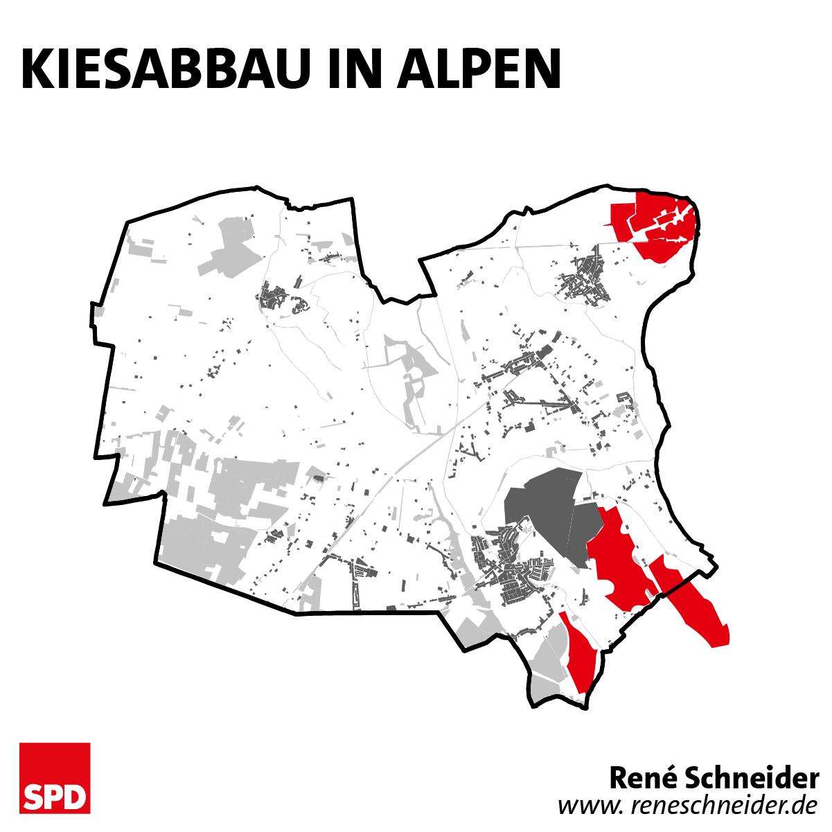 Kiesabbau in Alpen
