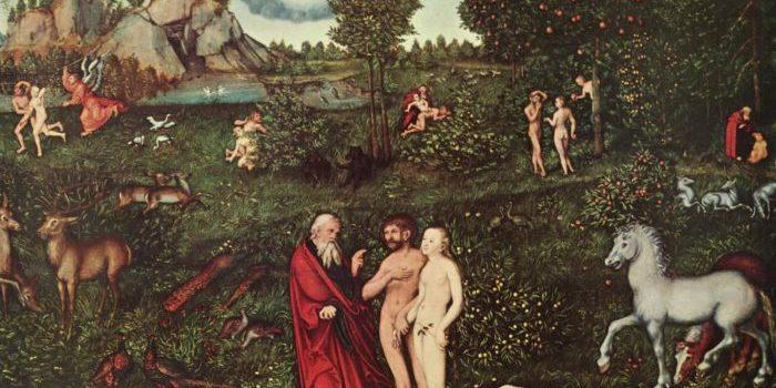 Lucas Cranach der Ältere: Das Paradies, 1530, Kunsthistorisches Museum, Wien – Im Vordergrund ist das Verbot Gottes an Adam und Eva, vom Baum der Erkenntnis zu essen, zu sehen. (Quelle: Wikipedia, The Yorck Project (2002))